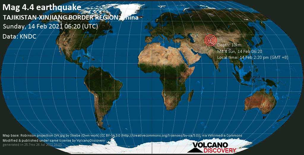 Moderate mag. 4.4 earthquake - 105 km southwest of Kashgar, Xinjiang, China, on Sunday, 14 Feb 2021 2:20 pm (GMT +8)