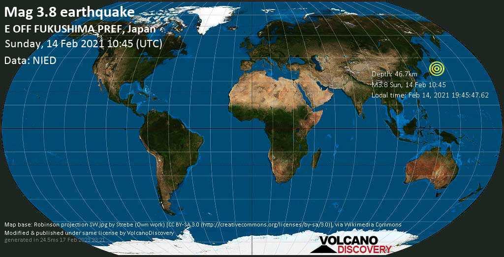 Schwaches Erdbeben Stärke 3.8 - Nordpazifik, 98 km südöstlich von Sendai, Präfektur Miyagi, Japan, am Sonntag, 14. Feb 2021 um 19:45 Lokalzeit