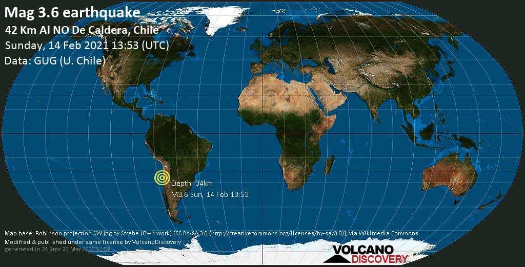 Sismo debile mag. 3.6 - South Pacific Ocean, 98 km a nord ovest da Copiapo, Atacama, Cile, domenica, 14 febbraio 2021