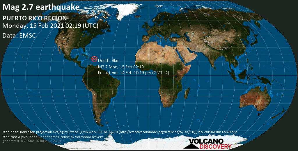 Weak mag. 2.7 earthquake - Caribbean Sea, 10.6 km south of Yauco, Puerto Rico, on Sunday, 14 Feb 2021 10:19 pm (GMT -4)