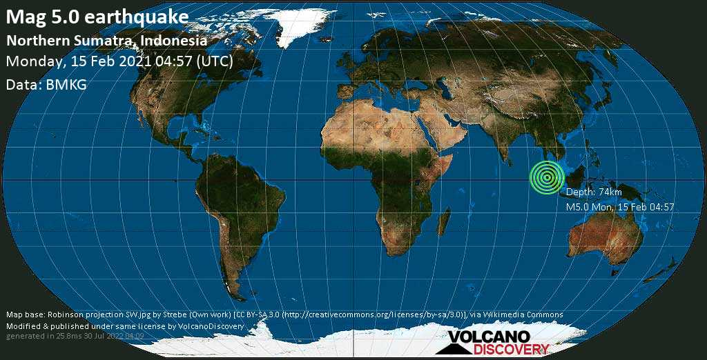 Moderate mag. 5.0 earthquake - Indian Ocean, 74 km southwest of Padangsidempuan, North Sumatra, Indonesia, on Monday, 15 Feb 2021 11:57 am (GMT +7)