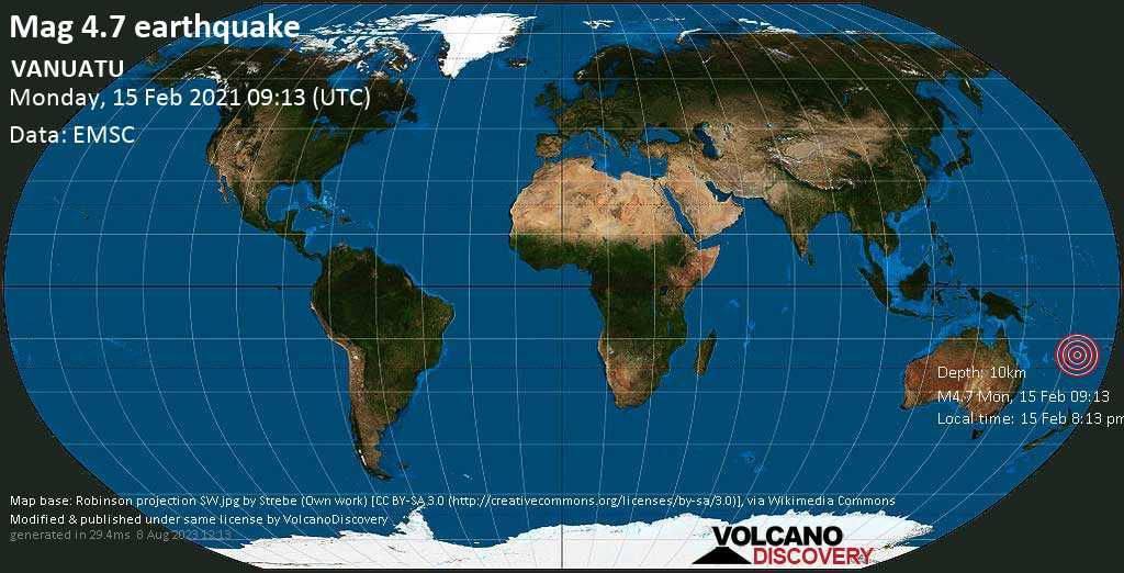 Moderate mag. 4.7 earthquake - Coral Sea, 132 km west of Tanna Island, Tafea Province, Vanuatu, on Monday, 15 Feb 2021 8:13 pm (GMT +11)