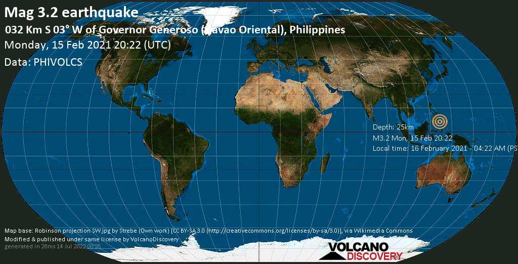 Weak mag. 3.2 earthquake - Philippines Sea, 68 km south of Mati, Davao Oriental, Philippines, on Tuesday, 16 Feb 2021 4:22 am (GMT +8)