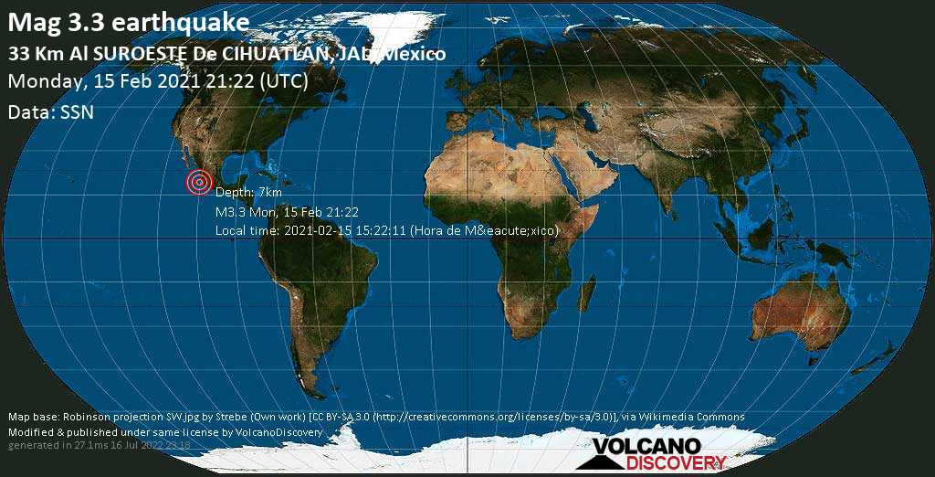 Light mag. 3.3 earthquake - North Pacific Ocean, 32 km southwest of Cihuatlan, Jalisco, Mexico, on 2021-02-15 15:22:11 (Hora de México)