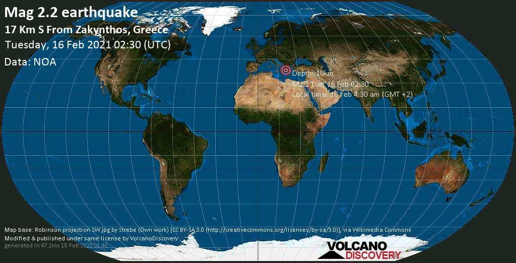 Weak mag. 2.2 earthquake - Ionian Sea, 17 km south of Zakynthos, Nomos Zakýnthou, Ionian Islands, Greece, on Tuesday, 16 Feb 2021 4:30 am (GMT +2)