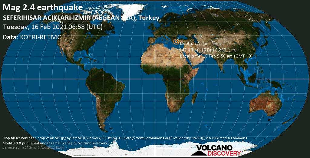 Weak mag. 2.4 earthquake - Aegean Sea, 15 km south of Urla, Izmir, Turkey, on Tuesday, 16 Feb 2021 9:58 am (GMT +3)