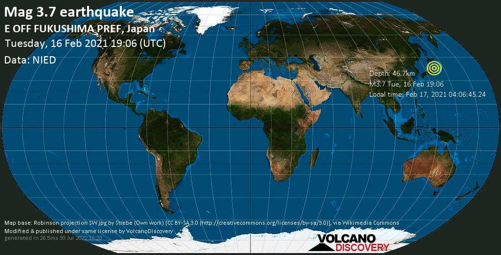 Weak mag. 3.7 earthquake - North Pacific Ocean, 95 km southeast of Sendai, Miyagi, Japan, on Wednesday, 17 Feb 2021 4:06 am (GMT +9)