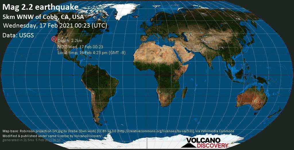 Weak mag. 2.2 earthquake - 5km WNW of Cobb, CA, USA, on Tuesday, 16 Feb 2021 4:23 pm (GMT -8)