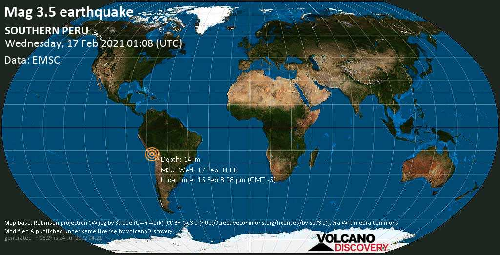 Light mag. 3.5 earthquake - 49 km south of Arequipa, Peru, on Tuesday, 16 Feb 2021 8:08 pm (GMT -5)