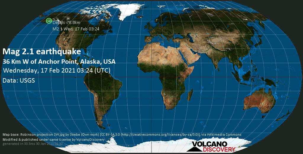 Minor mag. 2.1 earthquake - 36 Km W of Anchor Point, Alaska, USA, on Tuesday, 16 Feb 2021 6:24 pm (GMT -9)