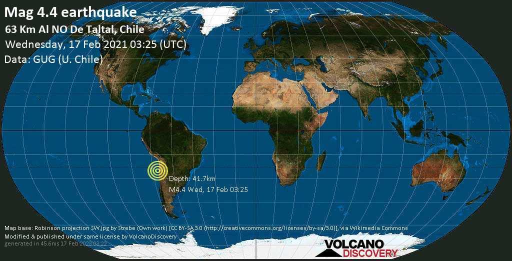 Sismo leggero mag. 4.4 - South Pacific Ocean, 63 km a nord ovest da Taltal, Provincia de Antofagasta, Cile, mercoledì, 17 febbraio 2021