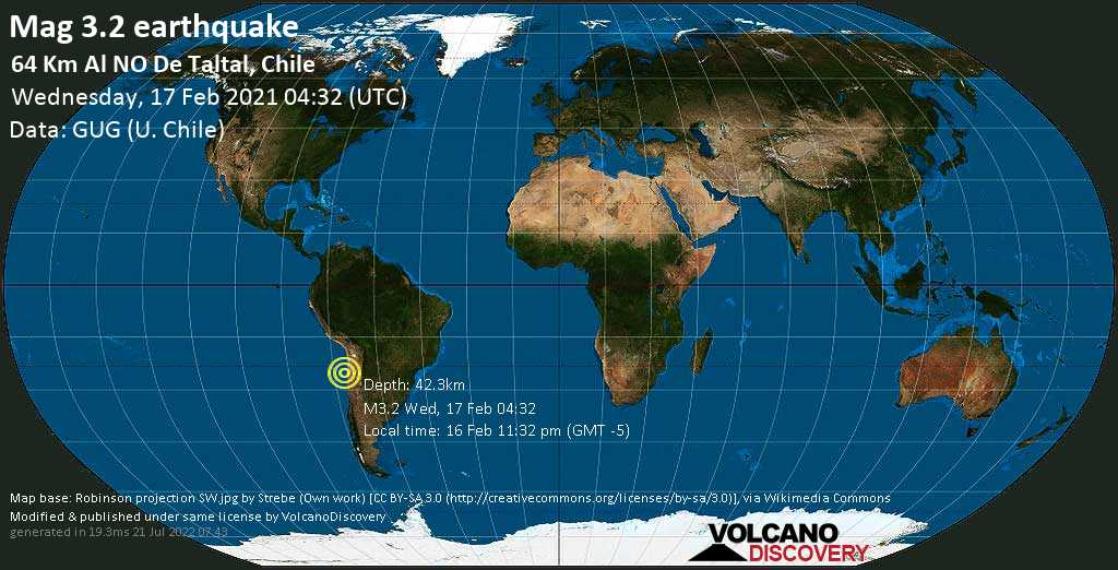Weak mag. 3.2 earthquake - South Pacific Ocean, 168 km south of Antofagasta, Chile, on Tuesday, 16 Feb 2021 11:32 pm (GMT -5)