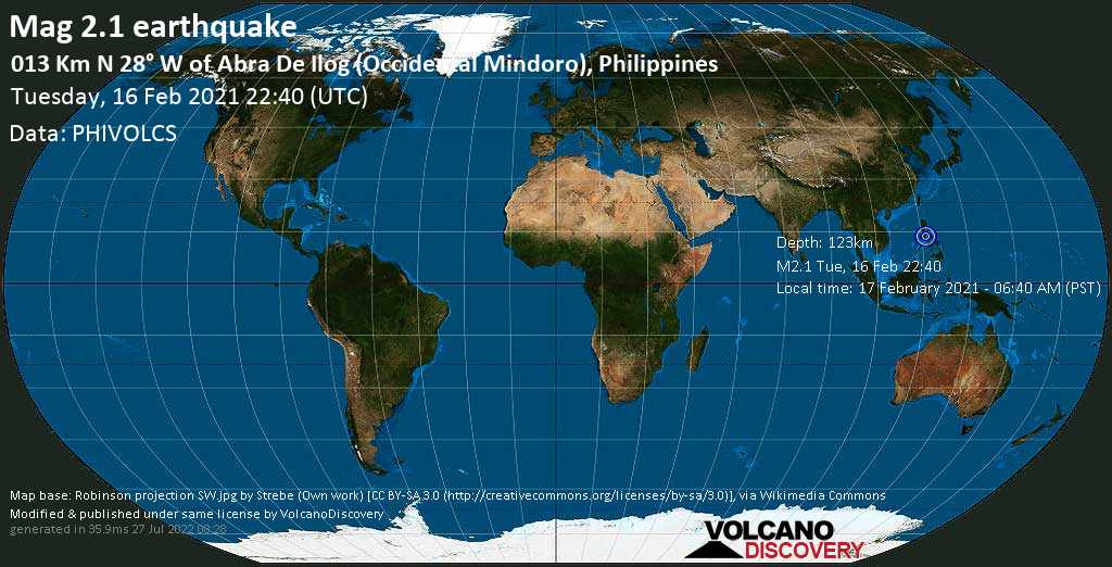 Minor mag. 2.1 earthquake - South China Sea, 57 km west of Calapan, Oriental Mindoro, Mimaropa, Philippines, on 17 February 2021 - 06:40 AM (PST)