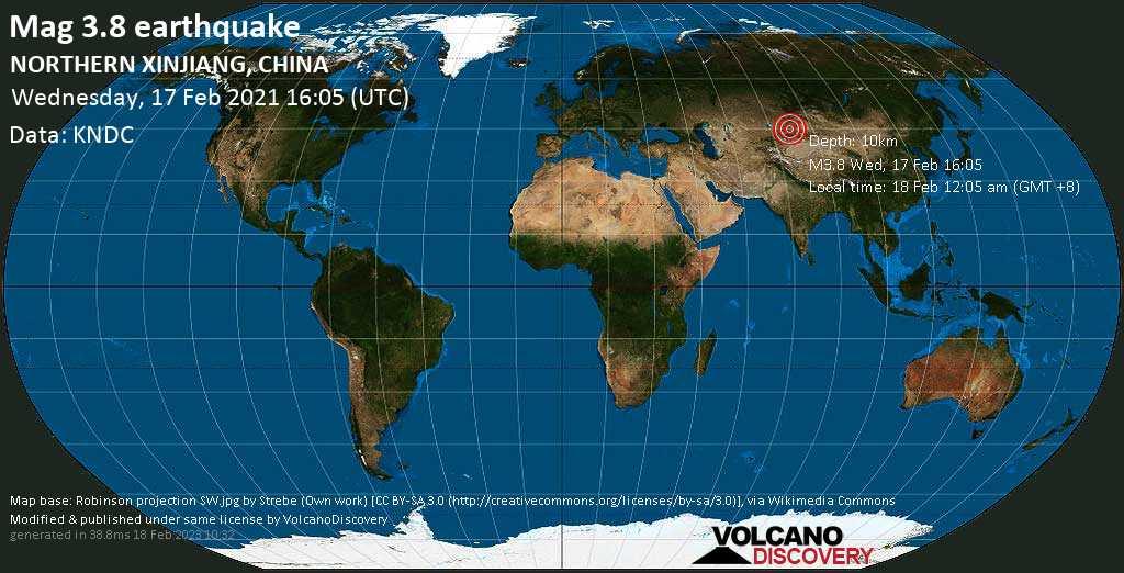 Light mag. 3.8 earthquake - Xinjiang, 97 km northeast of Zharkent, Kazakhstan, on Thursday, 18 Feb 2021 12:05 am (GMT +8)