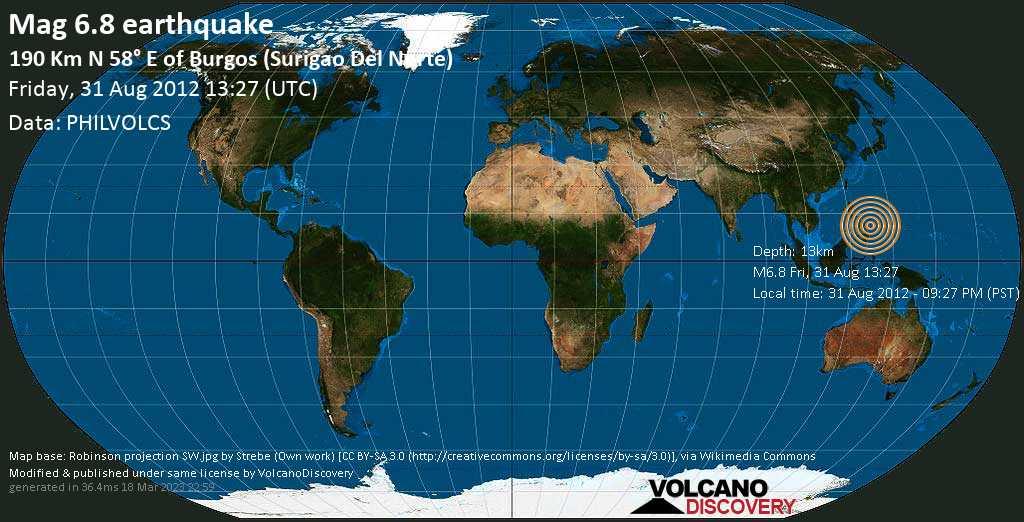 Strong mag. 6.8 earthquake  - 190 Km N 58° E of Burgos (Surigao Del Norte) on 31 Aug 2012 - 09:27 PM (PST)
