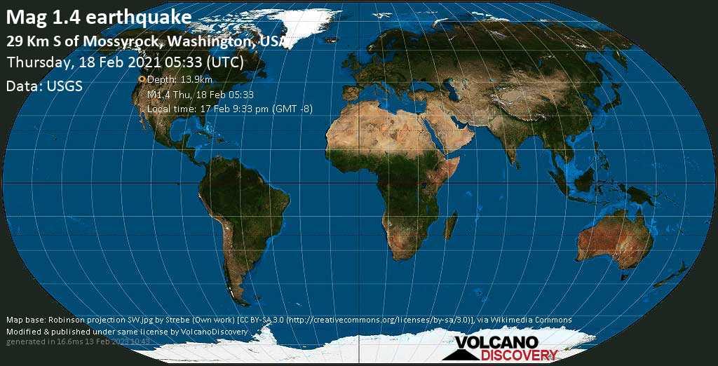 Sehr schwaches Beben Stärke 1.4 - 29 Km S of Mossyrock, Washington, USA, am Mittwoch, 17. Feb 2021 um 21:33 Lokalzeit