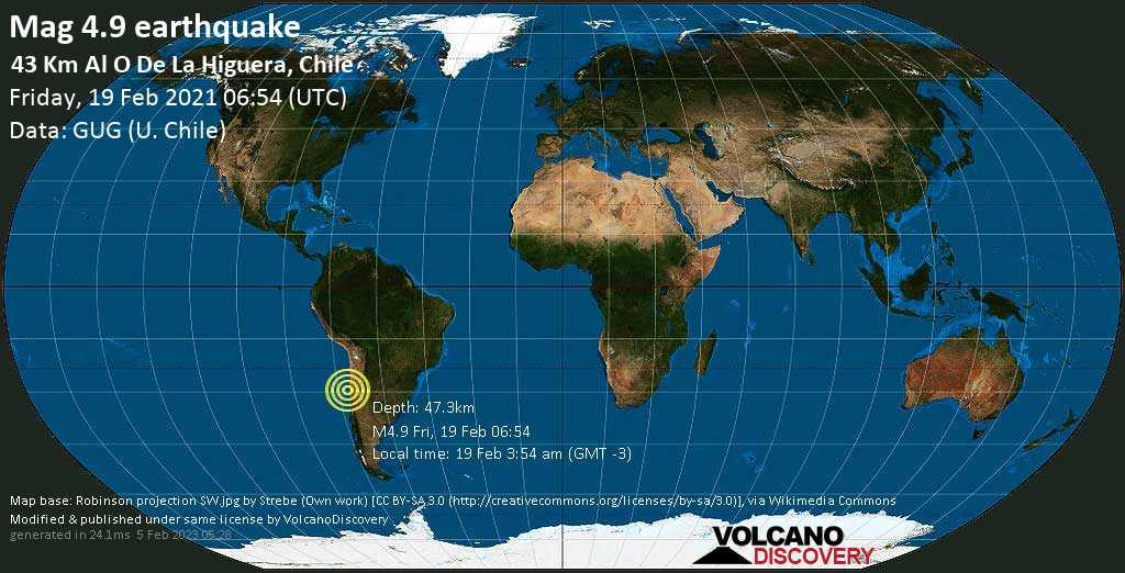 Terremoto moderado mag. 4.9 - South Pacific Ocean, 71 km NNW of La Serena, Provincia de Elqui, Coquimbo Region, Chile, Friday, 19 Feb. 2021