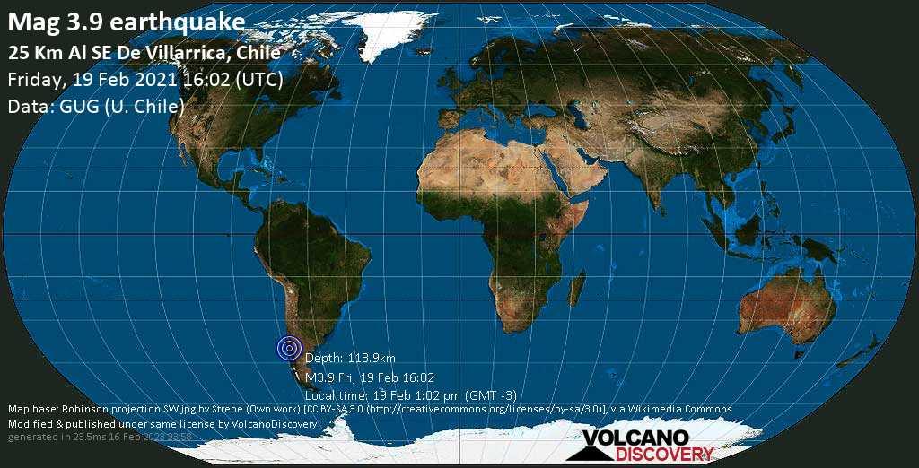 Schwaches Erdbeben Stärke 3.9 - 13 km südlich von Pucon, Provincia de Cautin, Araucania, Chile, am Freitag, 19. Feb 2021 um 13:02 Lokalzeit