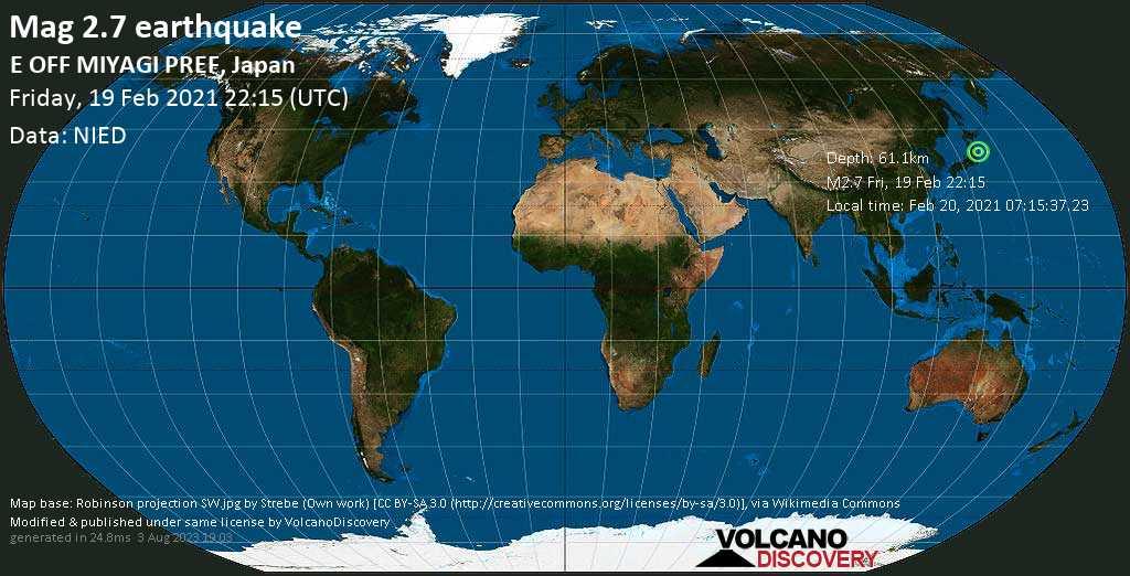 Minor mag. 2.7 earthquake - North Pacific Ocean, 53 km east of Ishinomaki, Miyagi, Japan, on Saturday, 20 Feb 2021 7:15 am (GMT +9)