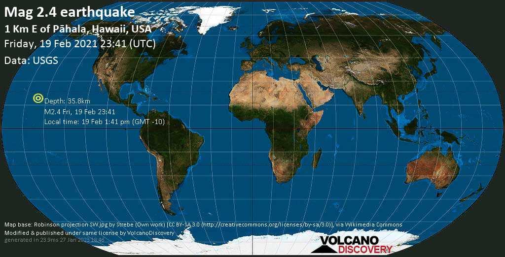 Minor mag. 2.4 earthquake - 1 Km E of Pāhala, Hawaii, USA, on Friday, 19 Feb 2021 1:41 pm (GMT -10)