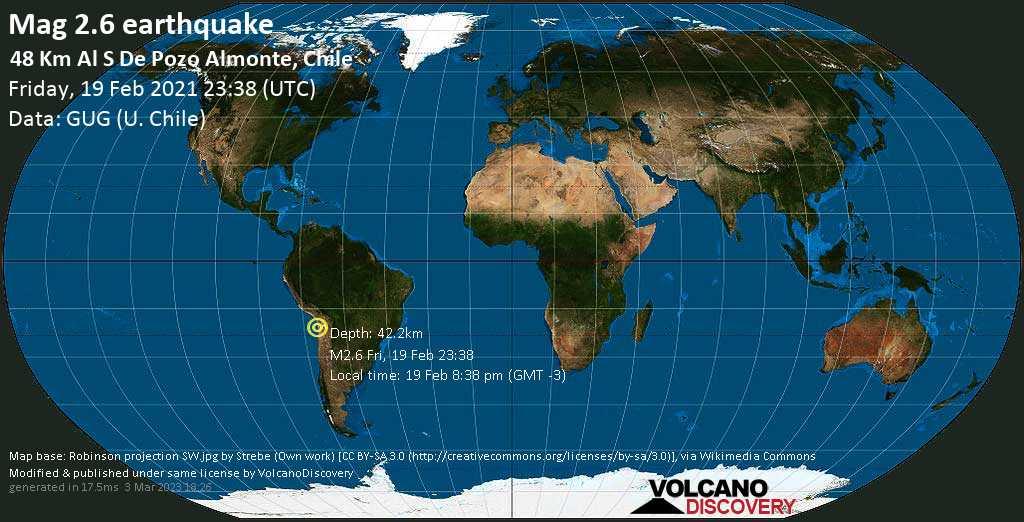 Sehr schwaches Beben Stärke 2.6 - Provincia del Tamarugal, 62 km südöstlich von Iquique, Tarapaca, Chile, am Freitag, 19. Feb 2021 um 20:38 Lokalzeit