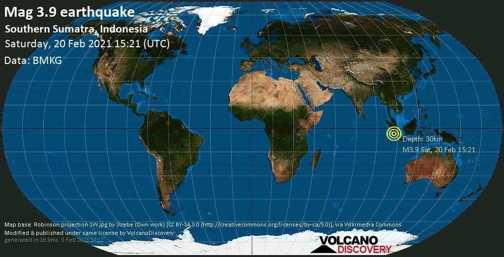 Terremoto leve mag. 3.9 - Indian Ocean, 91 km WNW of Benkulu, Bengkulu, Indonesia, Saturday, 20 Feb. 2021