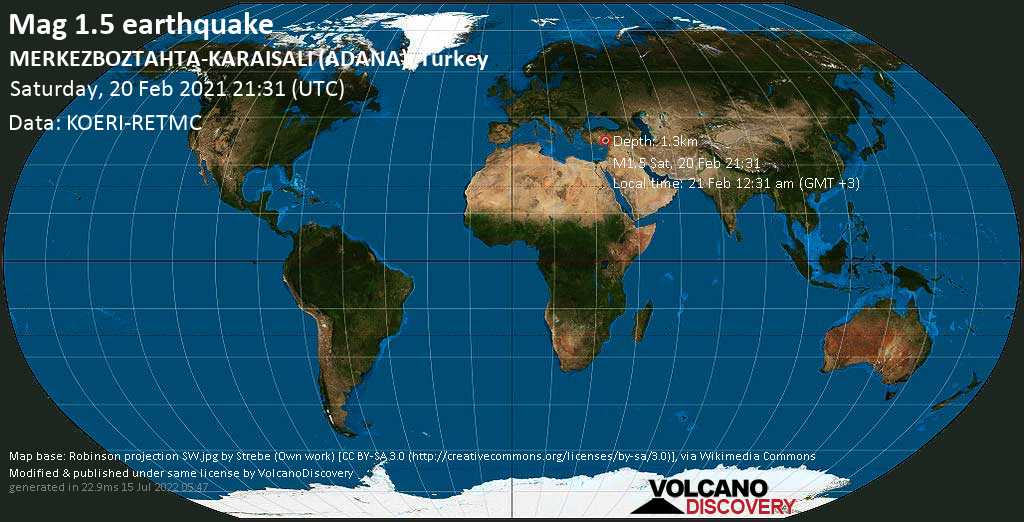 Minor mag. 1.5 earthquake - 42 km north of Adana, Turkey, on Sunday, 21 Feb 2021 12:31 am (GMT +3)