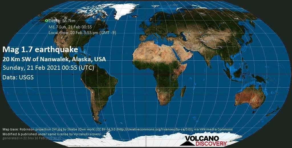 Sehr schwaches Beben Stärke 1.7 - 20 Km SW of Nanwalek, Alaska, USA, am Samstag, 20. Feb 2021 um 15:55 Lokalzeit