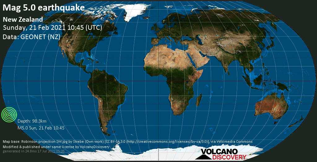 Moderate mag. 5.0 earthquake - South Pacific Ocean, New Zealand, on Saturday, 20 Feb 2021 10:45 pm (GMT -12)