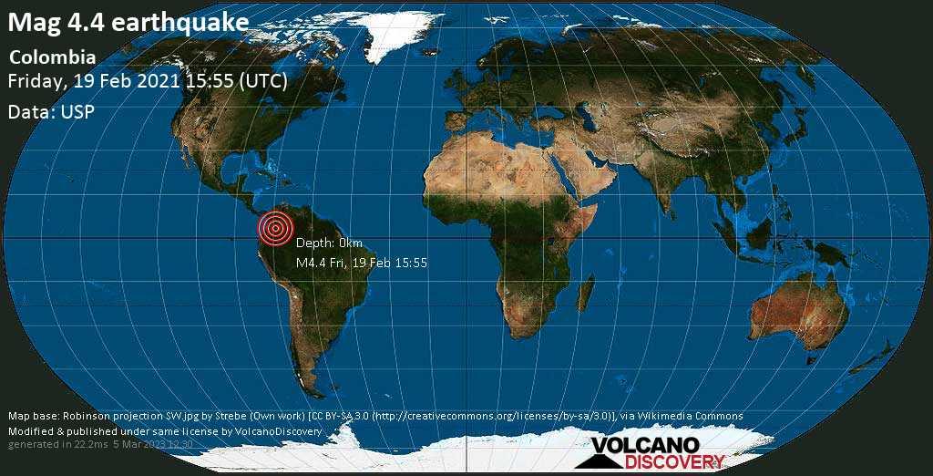 Moderates Erdbeben der Stärke 4.4 - Fuente de Oro, 18 km südlich von Granada, Departamento del Meta, Kolumbien, am Freitag, 19. Feb 2021 um 15:55 GMT