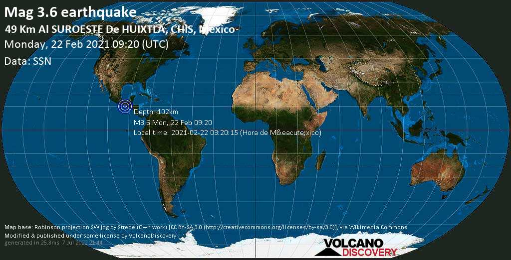 Weak mag. 3.6 earthquake - North Pacific Ocean, 49 km southwest of Huixtla, Chiapas, Mexico, on 2021-02-22 03:20:15 (Hora de México)