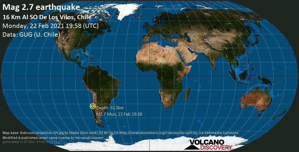 Sismo minore mag. 2.7 - South Pacific Ocean, 60 km a sud ovest da Illapel, Provincia de Choapa, Coquimbo Region, Cile, lunedí, 22 febbraio 2021