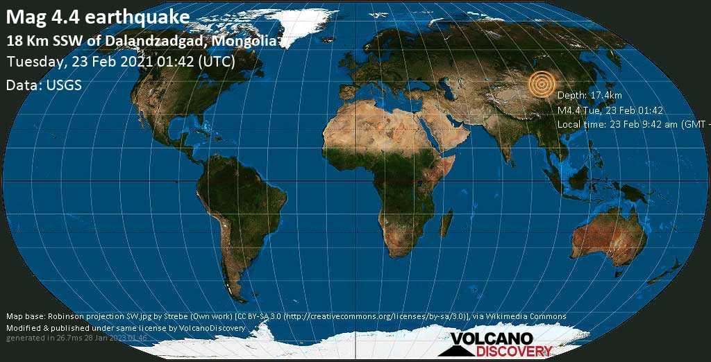 Moderate mag. 4.4 earthquake - 19 km south of Dalandzadgad, Khankhongor, Ömnögovĭ, Mongolia, on Tuesday, 23 Feb 2021 9:42 am (GMT +8)