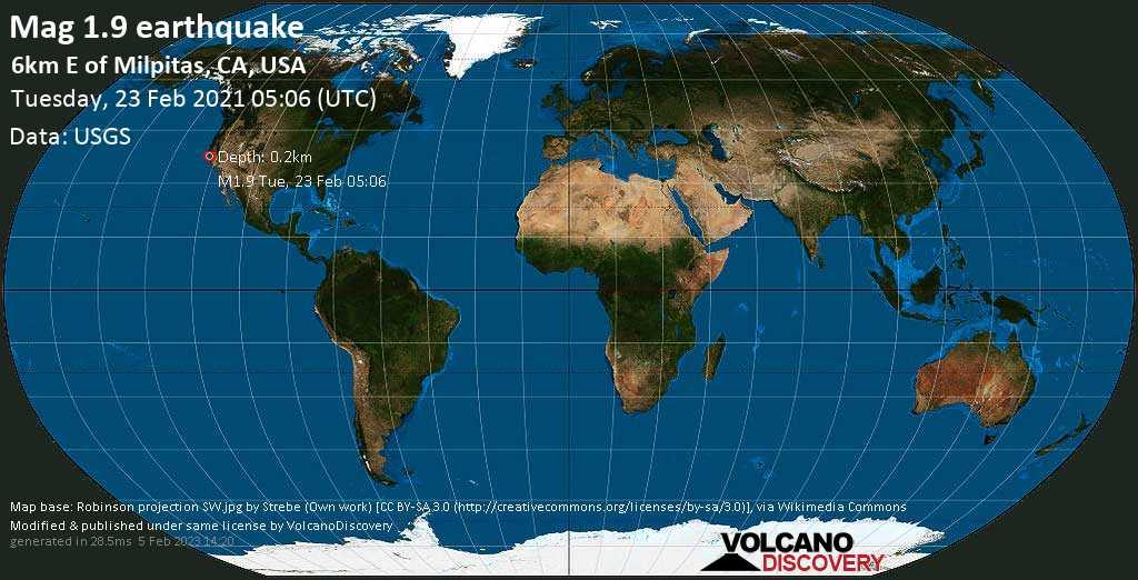 Weak mag. 1.9 earthquake - 6km E of Milpitas, CA, USA, on Monday, 22 Feb 2021 9:06 pm (GMT -8)