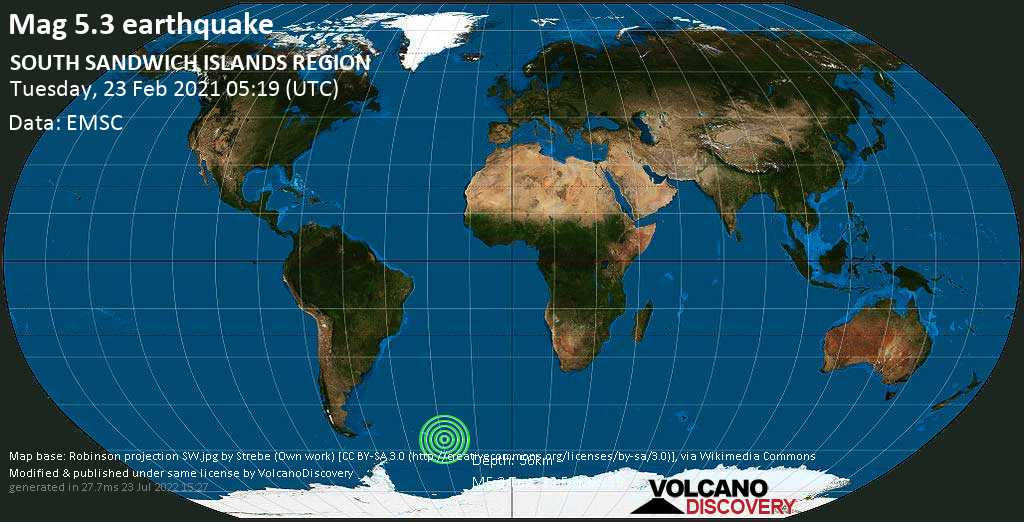 Moderate mag. 5.3 earthquake - South Atlantic Ocean, South Georgia & South Sandwich Islands, on Tuesday, 23 Feb 2021 3:19 am (GMT -2)
