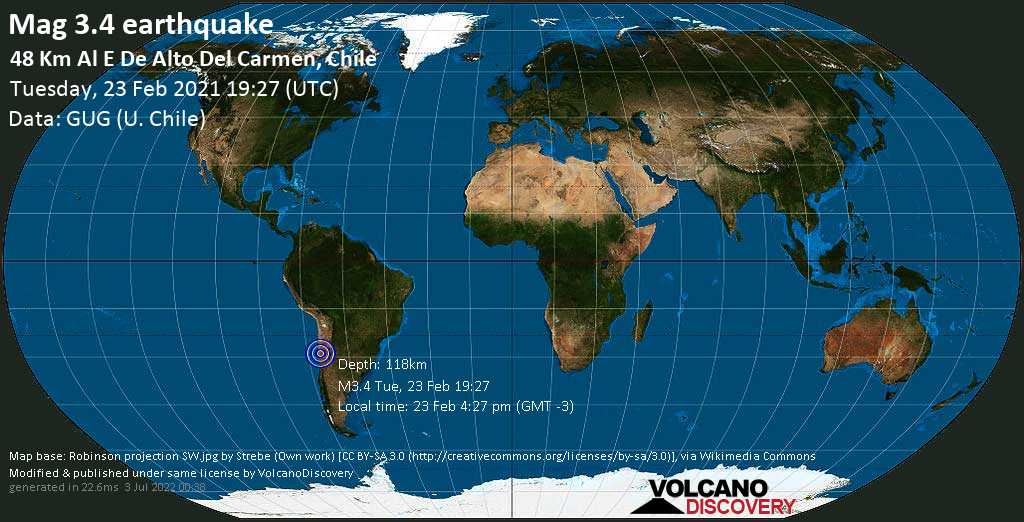 Sismo minore mag. 3.4 - 75 km a est da Vallenar, Huasco, Atacama, Cile, martedí, 23 febbraio 2021