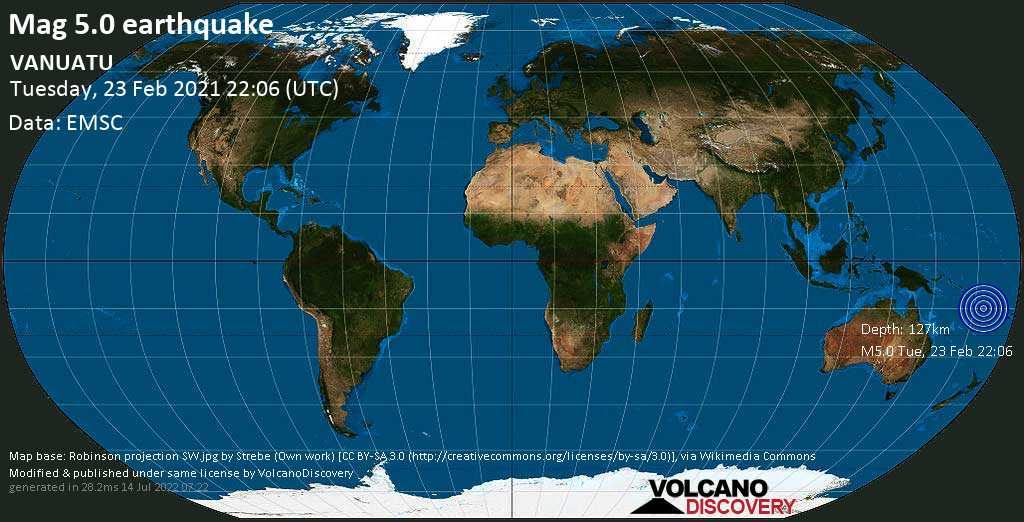 Terremoto moderato mag. 5.0 - Coral Sea, 92 km a nord da Luganville, Sanma Province, Vanuatu, martedí, 23 febbraio 2021