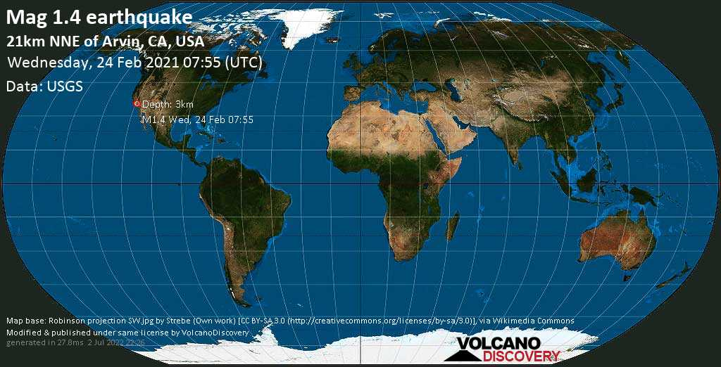 Minor mag. 1.4 earthquake - 21km NNE of Arvin, CA, USA, on Tuesday, 23 Feb 2021 11:55 pm (GMT -8)