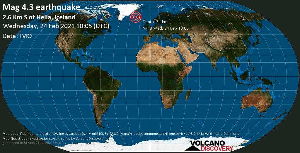 Moderate mag. 4.3 earthquake - 2.6 Km S of Hella, Iceland, on Wednesday, 24 Feb 2021 10:05 am (GMT +0)