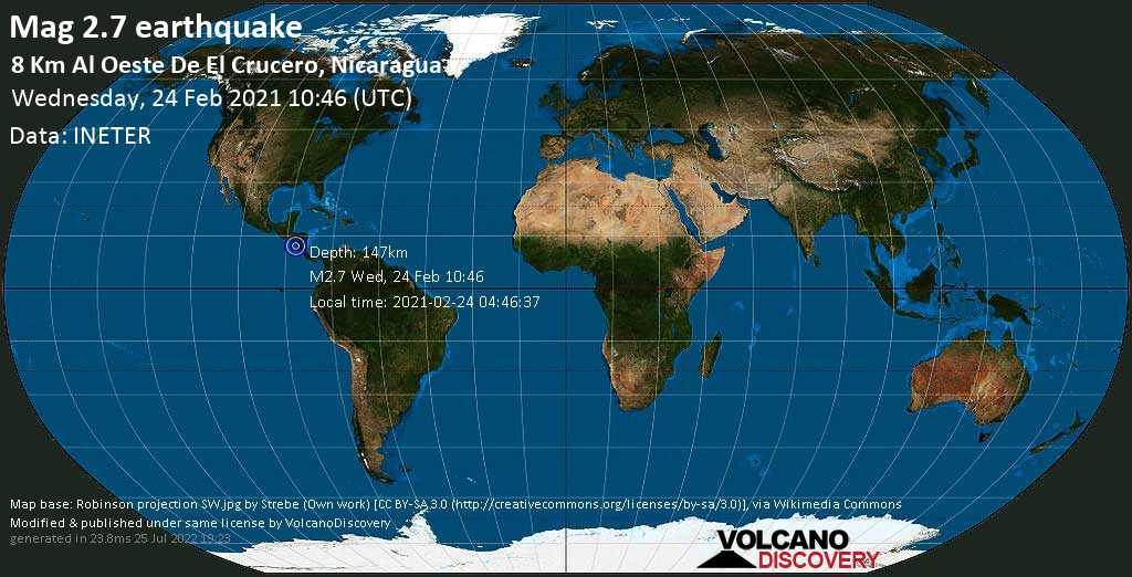 Minor mag. 2.7 earthquake - 26 km southwest of Managua, Nicaragua, on Wednesday, 24 Feb 2021 4:46 am (GMT -6)