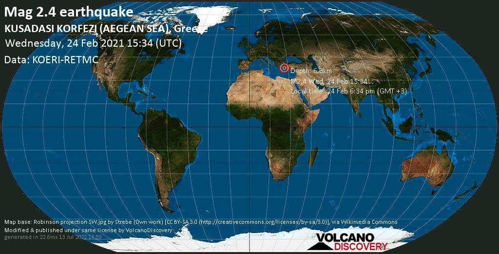 Weak mag. 2.4 earthquake - Greece, 21 km southwest of Kusadasi, Aydın, Turkey, on Wednesday, 24 Feb 2021 6:34 pm (GMT +3)