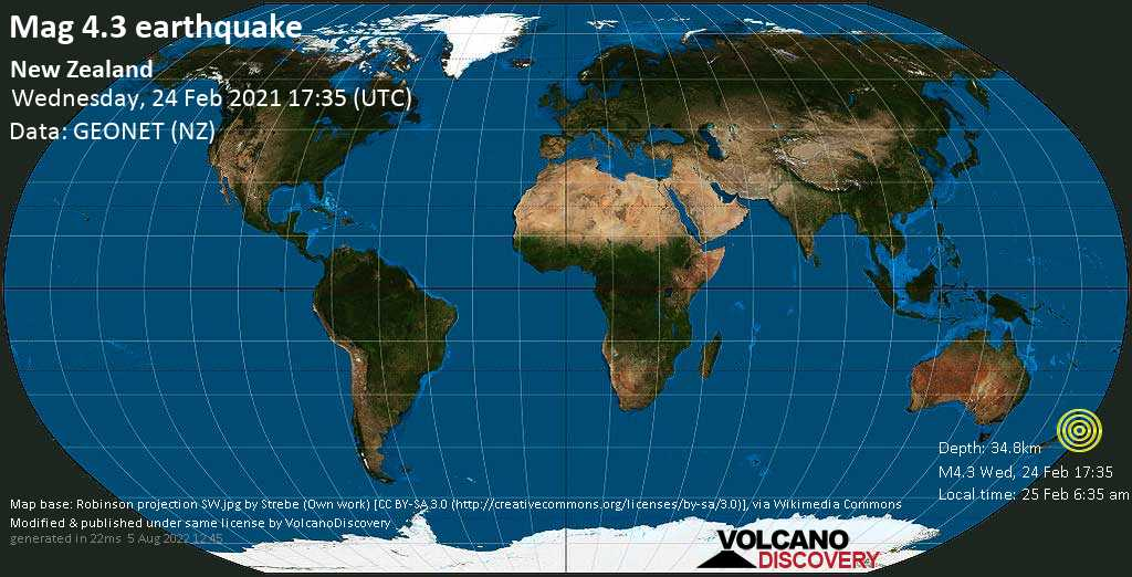 Light mag. 4.3 earthquake - 12 km southwest of Hastings, Hawke\'s Bay, New Zealand, on Thursday, 25 Feb 2021 6:35 am (GMT +13)