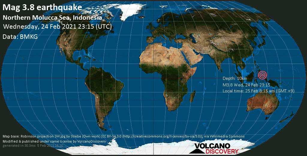 Light mag. 3.8 earthquake - Maluku Sea, 253 km north of Ternate, Maluku Utara, Indonesia, on Thursday, 25 Feb 2021 8:15 am (GMT +9)