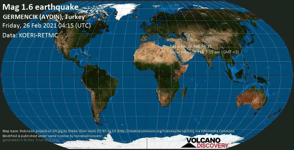 Minor mag. 1.6 earthquake - 20 km west of Aydin, Aydın, Turkey, on Friday, 26 Feb 2021 7:15 am (GMT +3)