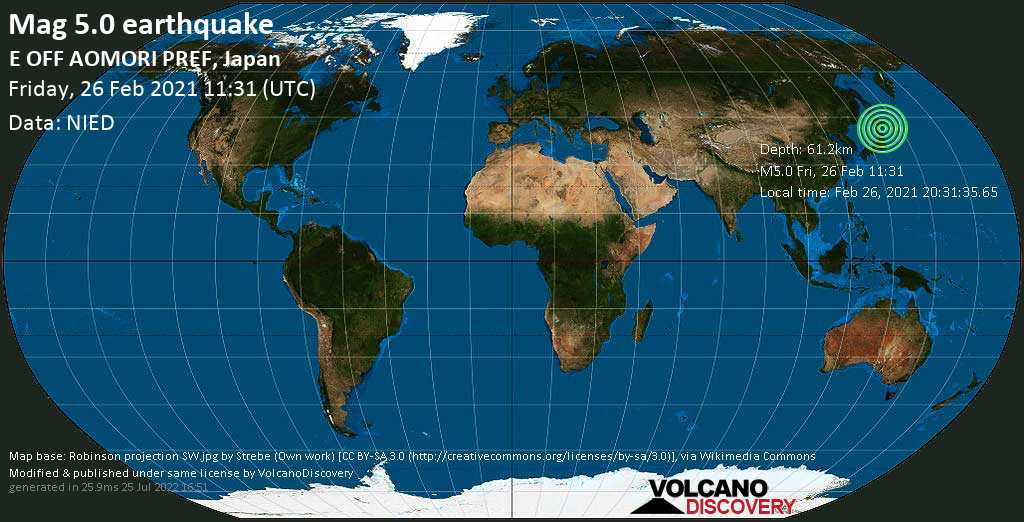 Moderate mag. 5.0 earthquake - North Pacific Ocean, 81 km northeast of Hachinohe, Aomori, Japan, on Friday, 26 Feb 2021 8:31 pm (GMT +9)