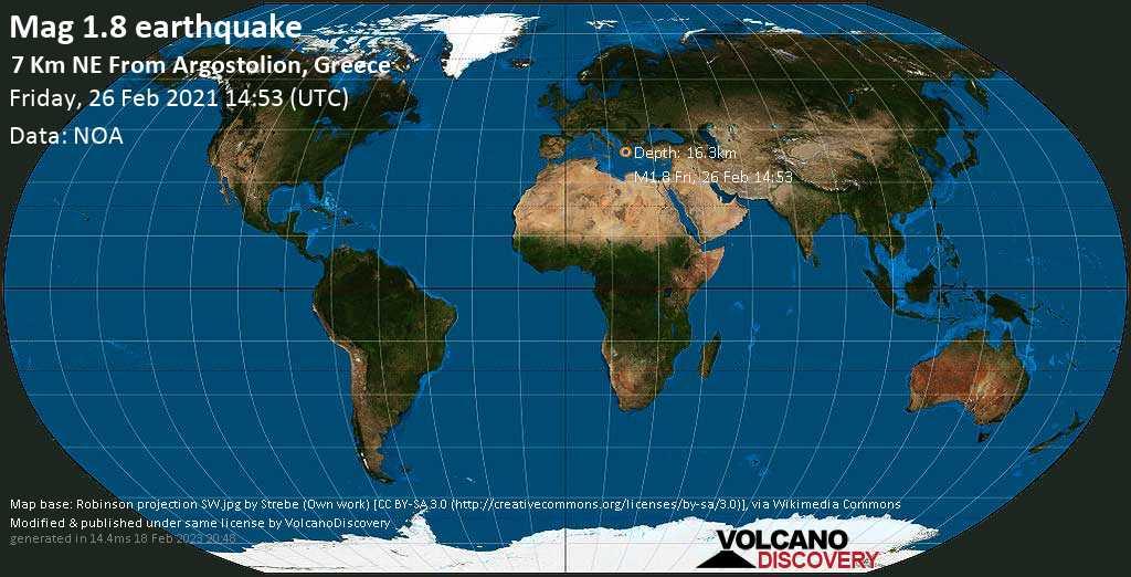 Sehr schwaches Beben Stärke 1.8 - 6.7 km nordöstlich von Argostoli, Griechenland, am Freitag, 26. Feb 2021 um 16:53 Lokalzeit