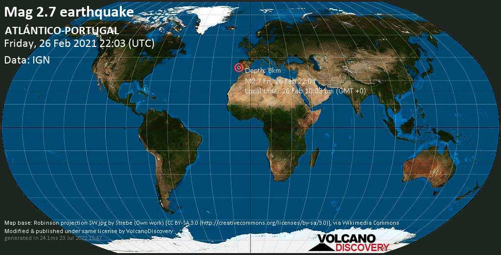 Weak mag. 2.7 earthquake - North Atlantic Ocean, 44 km south of Setubal, Portugal, on Friday, 26 Feb 2021 10:03 pm (GMT +0)