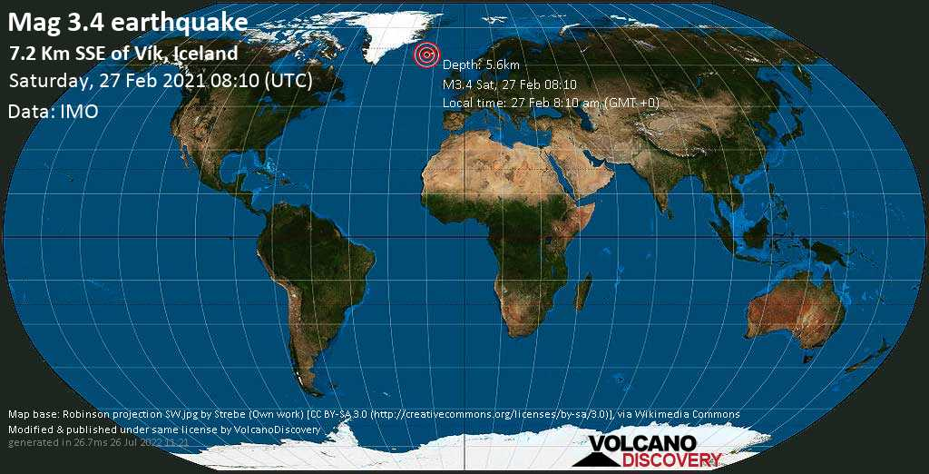 Light mag. 3.4 earthquake - 7.2 Km SSE of Vík, Iceland, on Saturday, 27 Feb 2021 8:10 am (GMT +0)