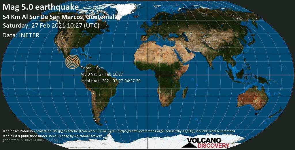 Fuerte terremoto magnitud 5.0 - North Pacific Ocean, 87 km SW of Retalhuleu, Guatemala, Saturday, 27 Feb. 2021