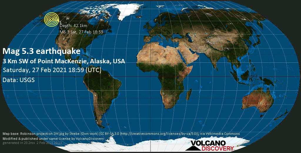 Terremoto moderato mag. 5.3 - Borough di Matanuska-Susitna Parish, 13 km a nord ovest da Anchorage, Alaska, Stati Uniti, sabato, 27 febbraio 2021